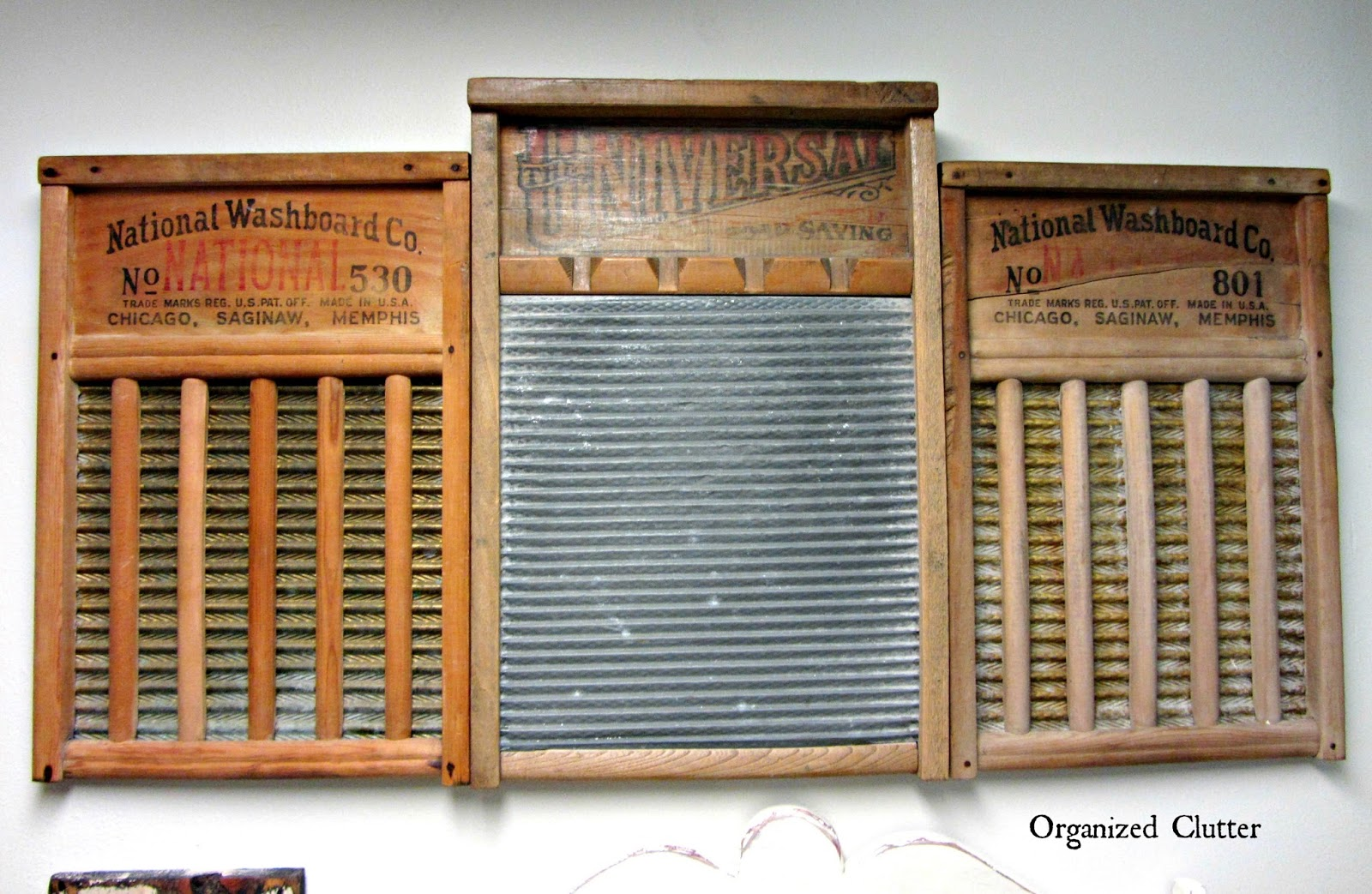 Upcycled Washboard Art www.organizedclutterqueen.blogspot.com
