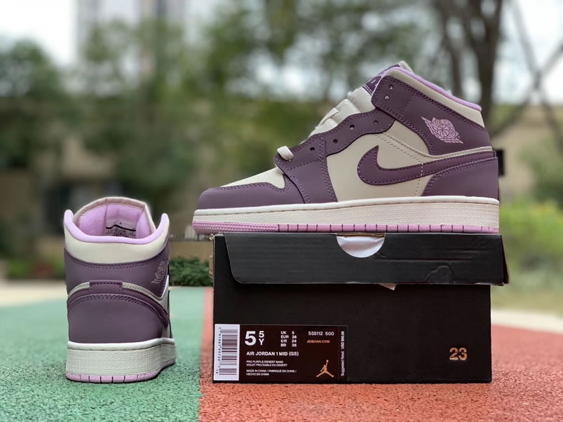 best website 58bb3 3df11 Air Jordan 1 Mid GS  Pro Purple   Desert Sand  Shoes For Women 555112-500 -  www.anpkick.com