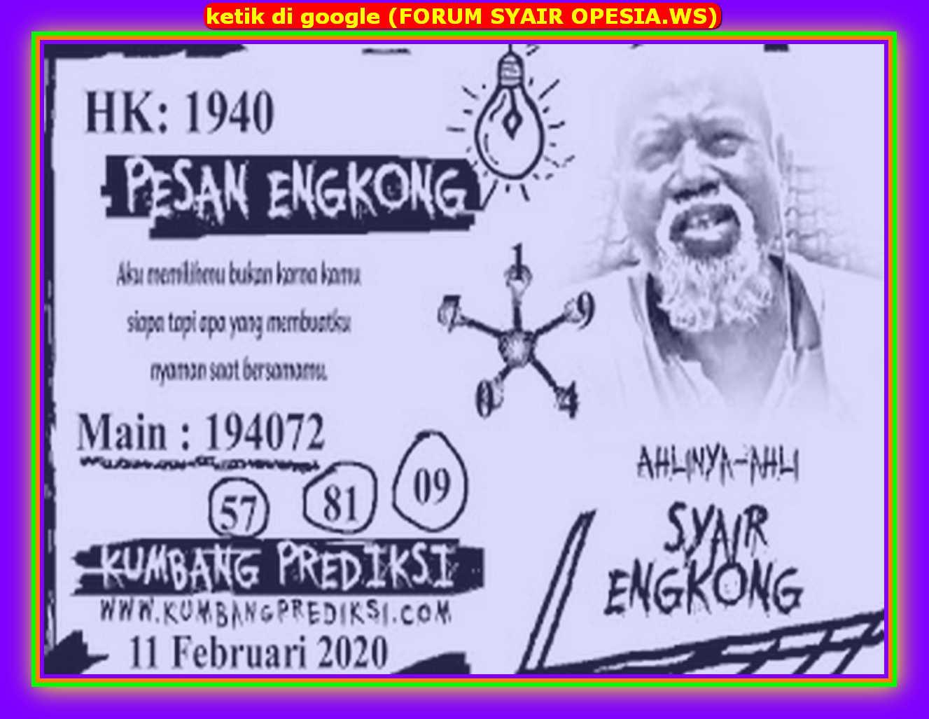Kode syair Hongkong Selasa 11 Februari 2020 115