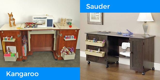 The Kangaroo Kabinets Bandicoot and Sauder Sewing Craft Cart are featured in this sewing table buying guide.