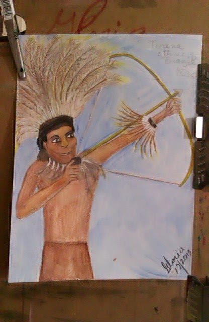 """Terena tribesman of Brazil"" sketch by Gloria Poole ; yr 2013"