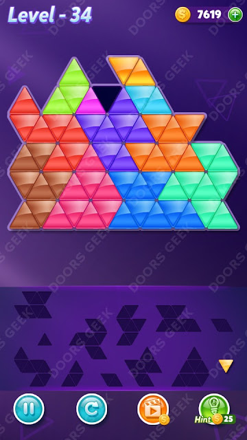 Block! Triangle Puzzle 12 Mania Level 34 Solution, Cheats, Walkthrough for Android, iPhone, iPad and iPod