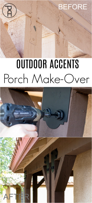 An easy and dramatic front porch makeover using gorgeous black hardware