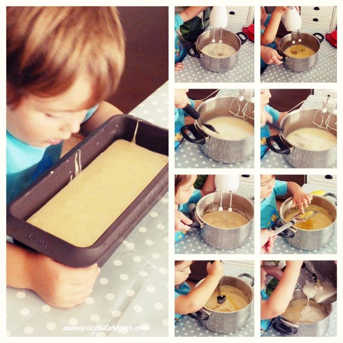 proceso elaboración receta bizcocho hecha por un niño