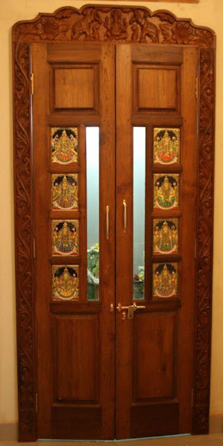 9 Traditional Pooja Room Door Designs In 2020: Teak Wood Door Designs Kerala