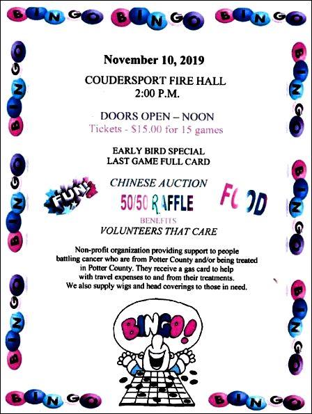 11-10 Bingo, Coudy Fire Hall, Volunteers That Care