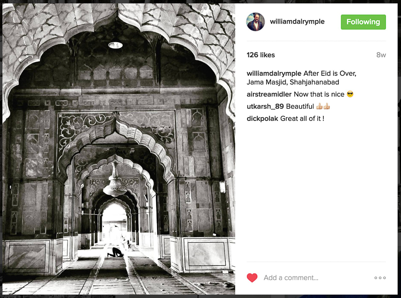 "Few months back when I came across William Dalrymple's profile on Instagram, I was impressed to see photographs by an accomplished writer. Many time popular personalities have portraits or some casual shots, but his feed is class apart and unique. This Photo Journey shares some of the photographs clicked by William Dalrymple  and what makes his Instagram profile so interesting to be featured on Travellingcamera.com . Check out our next post in 'In the Spotlight ' series and get inspired to click better Travel photographs with eye-catching details.First this first - As you start checking his profile, you would read something like this as introduction - "" William Dalrymple - Goatherd and Kabooter baz www.williamdalrymple.uk.com ""Apart from being an awesome Travel Writer, he is also a brilliant photographer. This time, we don't have an interview in this series, but we found it quite interesting & inspiring to share with viewers of Travellingcamera. Vibha  interviewed him last year and that interview can be checked here .  And there is a reason why I have picked only Jama Masjid photographs from William's Instagram feed. These are the photographs which caught my attention when I was going through Jama Masjid photographs on Instagram. And these images stood out in all. And then I found that photographs are clicked by none other than William Dalrymple. Then I started navigating through his Insta-feedLot of historical photographs can be seen in his profile in Black and whites. And there are many interesting wall paintings from different parts of the world. As experienced in his books, he is an avid traveller and a brilliant observer.Carefully notice the compositions of these photographs and you would rarely see such photographs. And in some of these, imagery is telling a lot about the place, people visiting it and action happening.Him Instagram profile can be checked here -"
