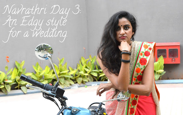 Navrathri Day 3: Styling a sari in an edgy style for a wedding. image
