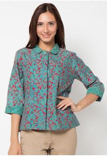 Baju Batik Lengan Panjang Modern Wanita Muda