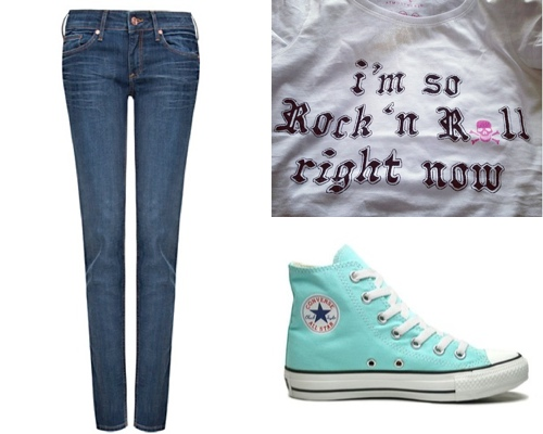 lacaprichossa, jeans mango, converse all star, camiseta rock'n'roll, gafas fun&basics, infinito yanes young, pulseras cruciani, hipanema, swatch