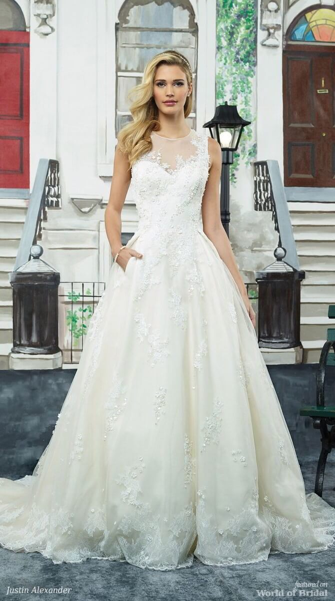 Justin Alexander Spring 2018 Tulle and Lace Ball Gown with Silk Flower Appliques and Pockets