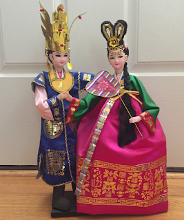 doll, collectable, korean doll, bridal couple, silla crown, han bok