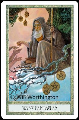 Six of Pentacles Druidcraft Tarot Will Worthington blog Blogger