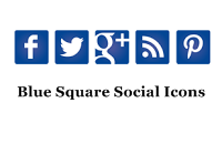 Blue Square Social Icons Widget For Blogger Blog