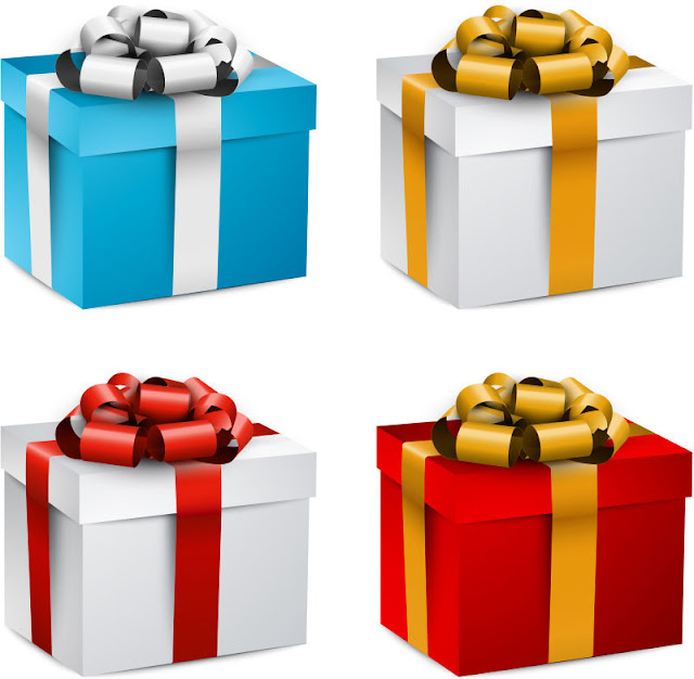Hộp quà tặng màu sắc khác nhau với cung vector