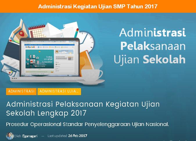 Perangkat Administrasi Kegiatan Ujian SMP Tahun 2017 - 2018