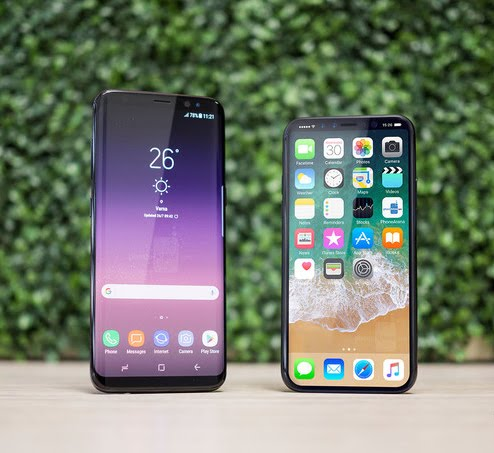 Samsung Galaxy S8 Plus and Apple iPhone 8 Plus
