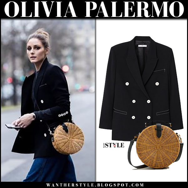 Olivia Palermo in black jacket with round bamboo woven bag mango street fashion march 2018