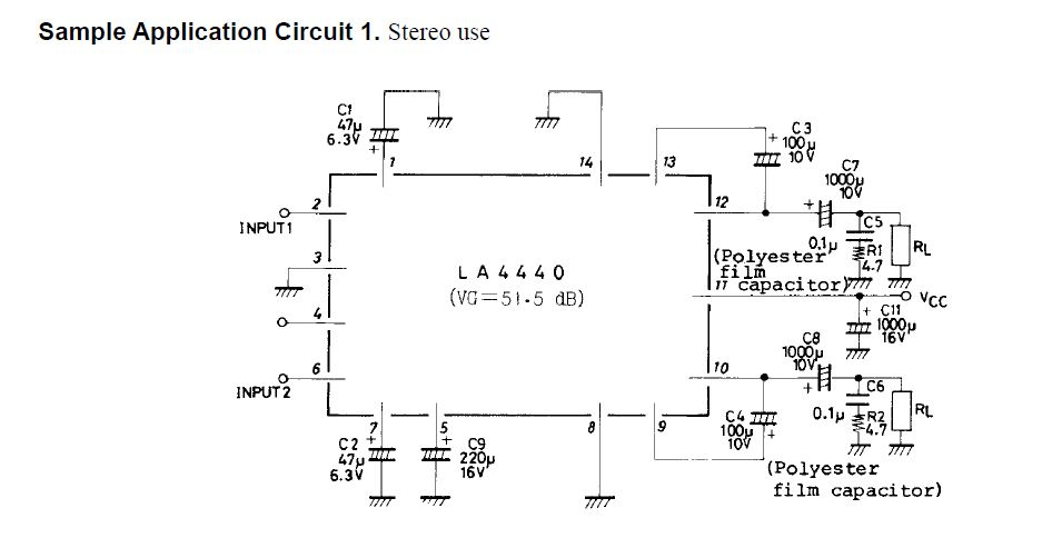 Sanyo LA4440 amplifier and Power supply Circuit Diagram Schematic