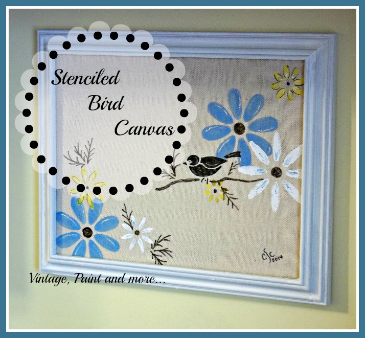 Vintage, Paint and more... DIY wall art made by stenciling on a canvas
