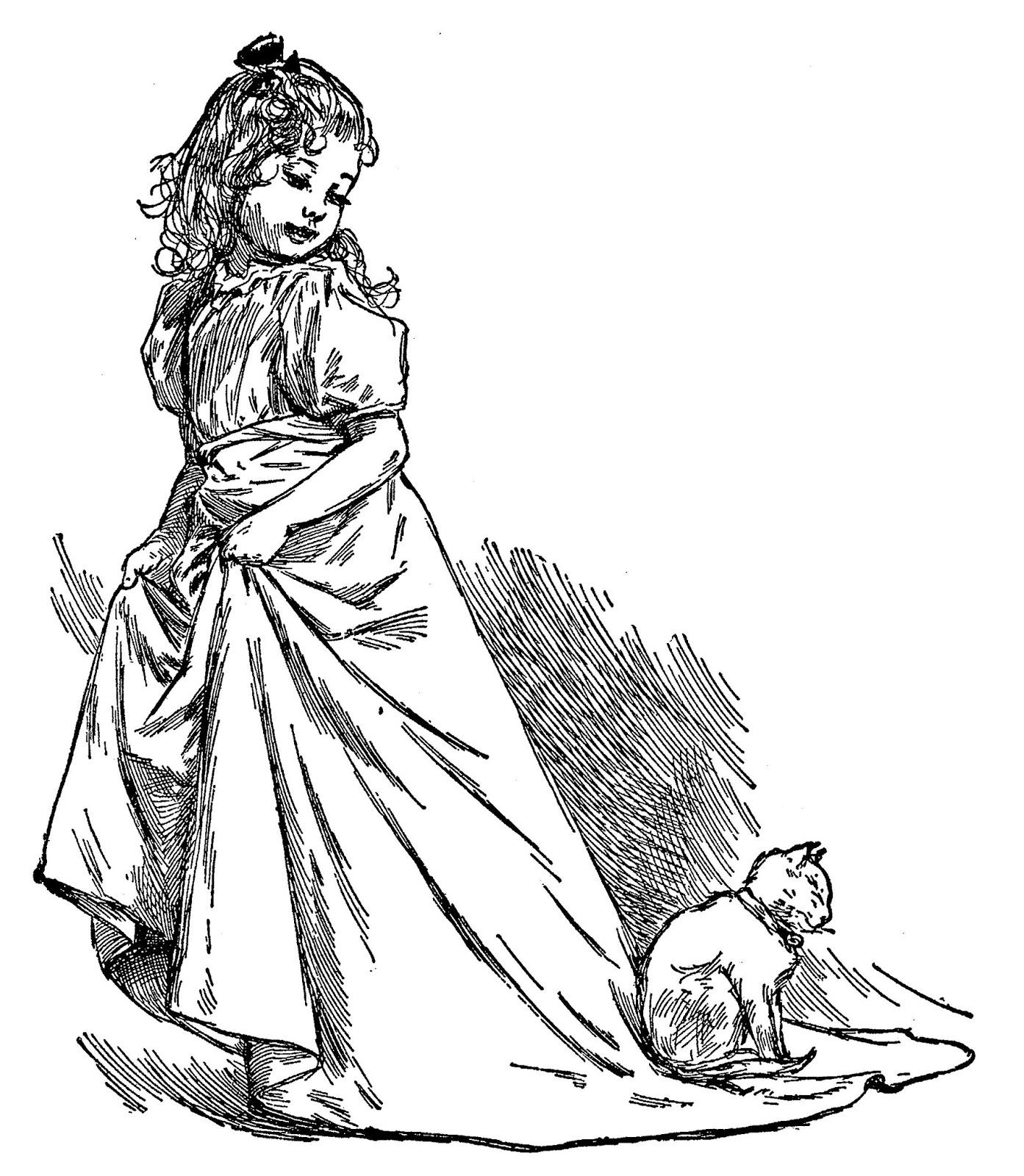 Digital Stamp Design Royalty Free Victorian Girl Artwork
