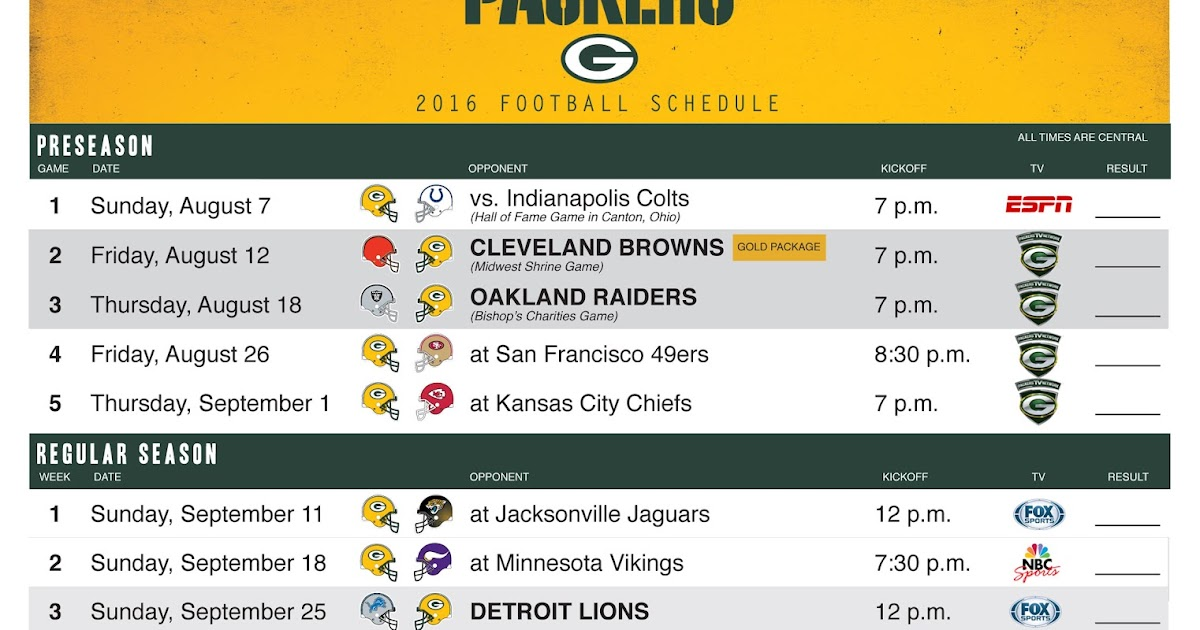 image about Printable Packer Schedule known as The Donning Of the Eco-friendly (and Gold): 2016 Timetable Unveiled