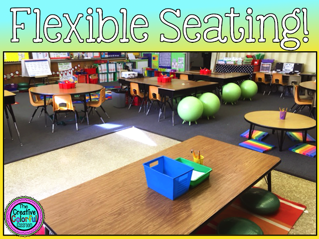 A photo of a classroom with flexible seating. There are lowered desks with kneeling pads and stability cushions, balance balls with feet stabilizers, and standing desks all available for students to work from.