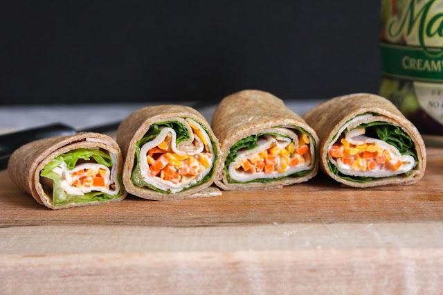 Whole Wheat Creamy Ranch Turkey Wrap | The Chef Next Door #PowerYourLunchbox