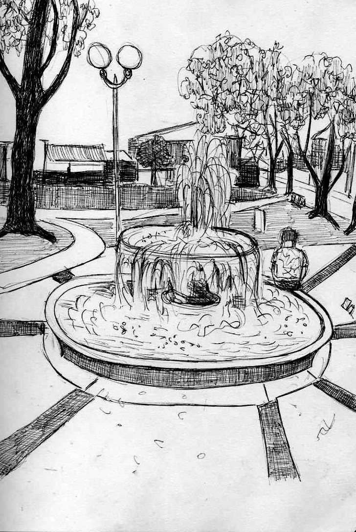 рисунок фонтана в парке карандашом сайте