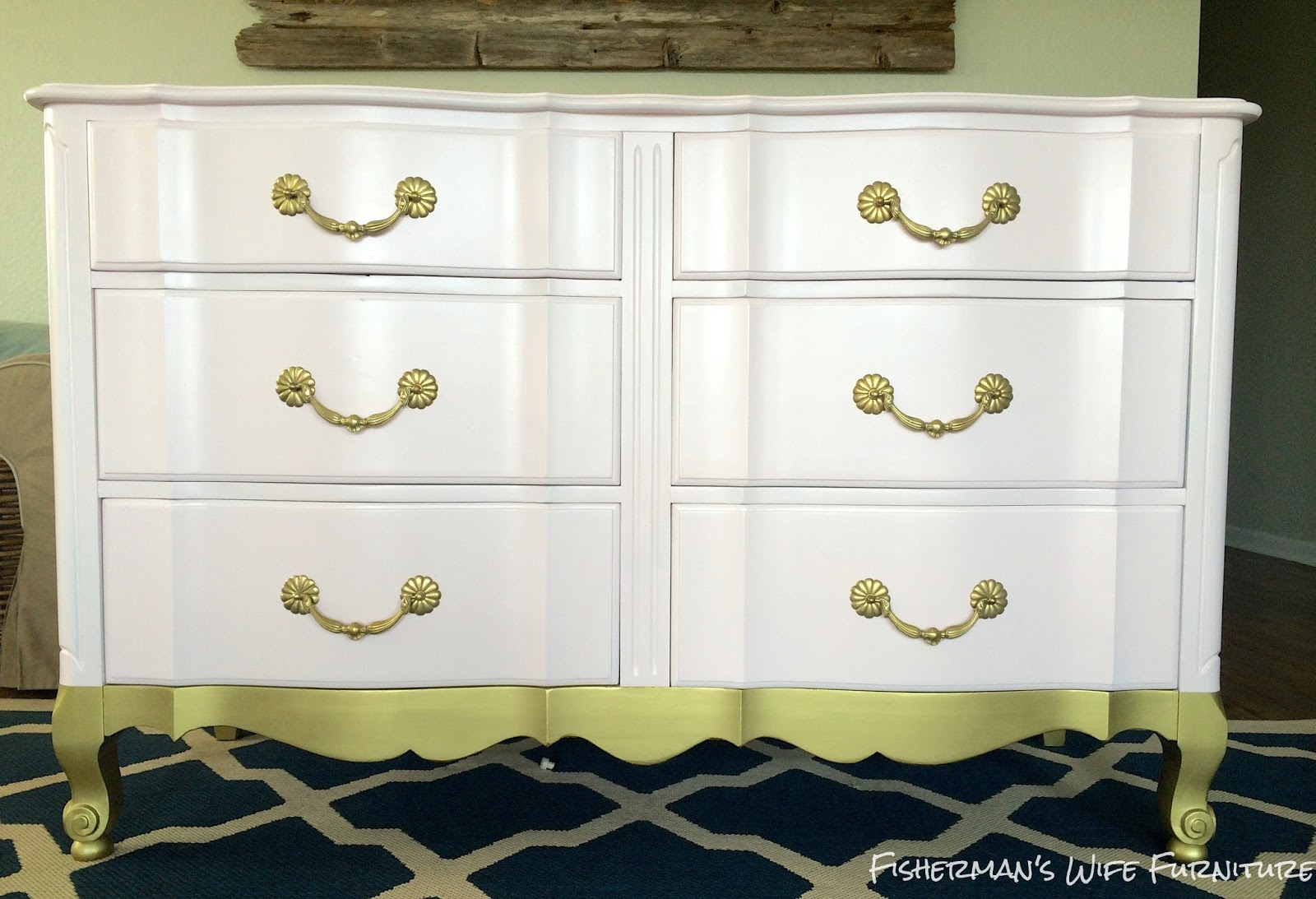 My Client Decided She Wanted The Dresser To Look Gold Dipped Which I Love Soft Pink With Br Handles And Legs Is A Beautiful