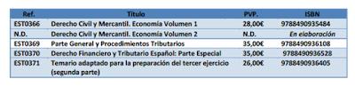 Temarios Técnicos de la Hacienda Pública. Disponibles en Libreria Cilsa.