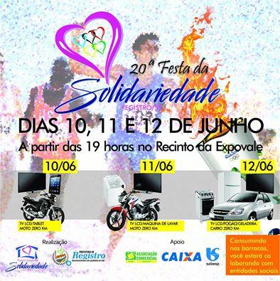 20ª Festa da Solidariedade em Registro-SP nos dias 10, 11 e 12 de Junho