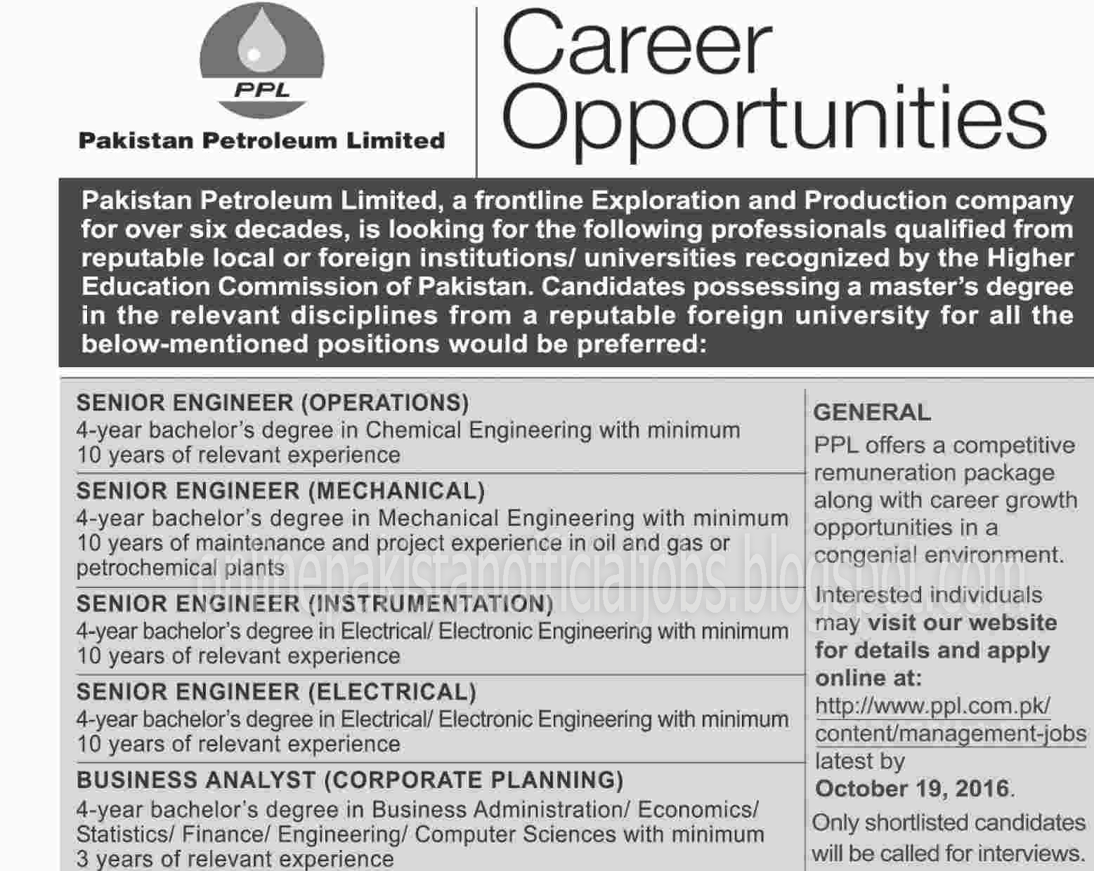Engineers Jobs in Pakistan Petroleum Limited