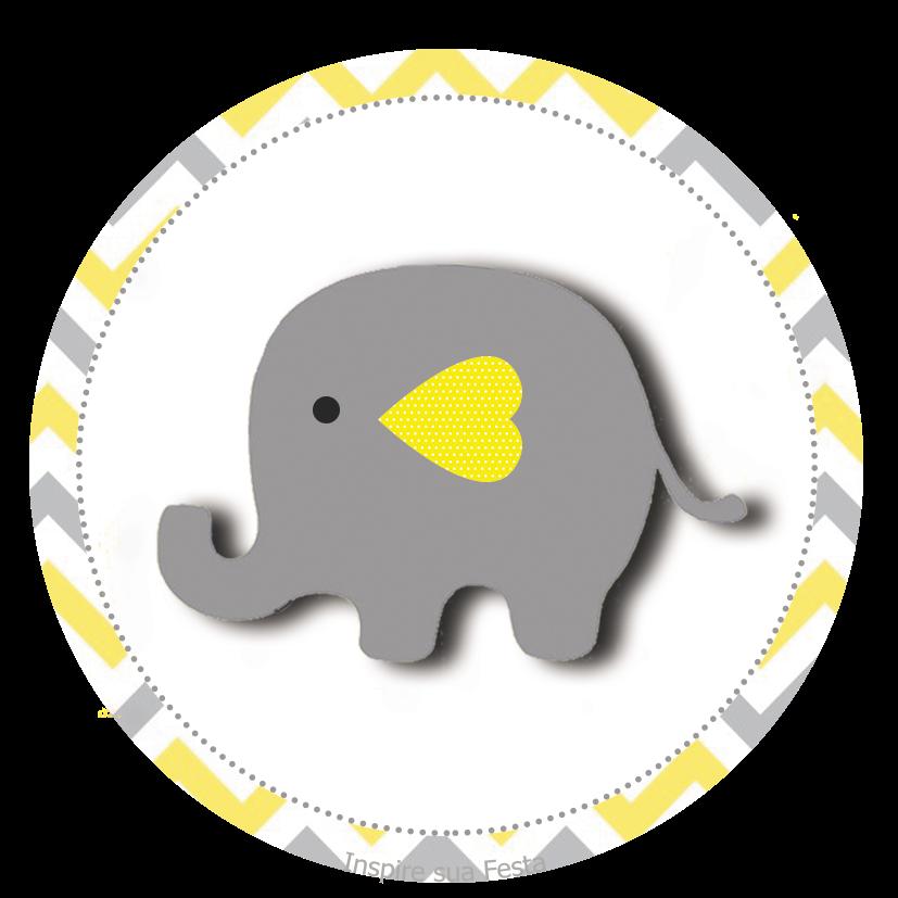 Elefante Bebé en Amarillo y Gris: Wrappers y Toppers para Cupcakes ...