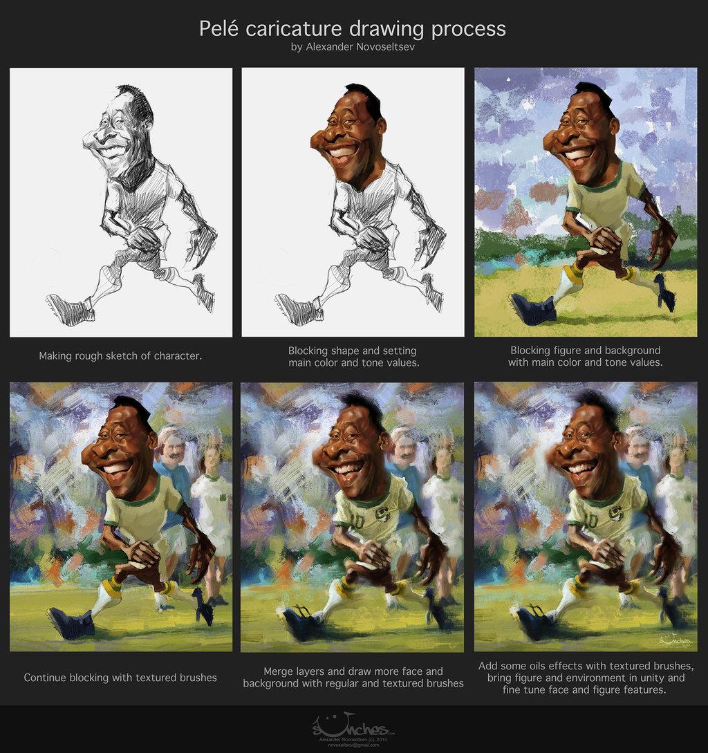 "Proceso de caricatura de ""Pelé"" por Alexander Novoseltev"