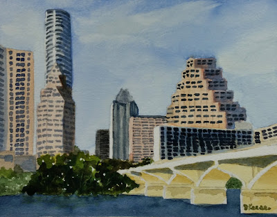 Austin from Palmer Events Center - Watercolor - John Keese