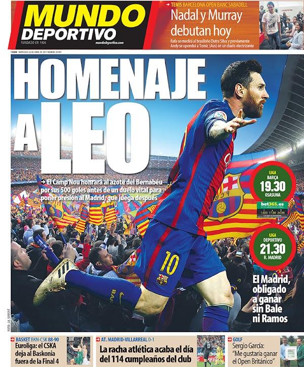 """FC Barcelona, Mundo Deportivo: """"Homenaje a Leo"""""""