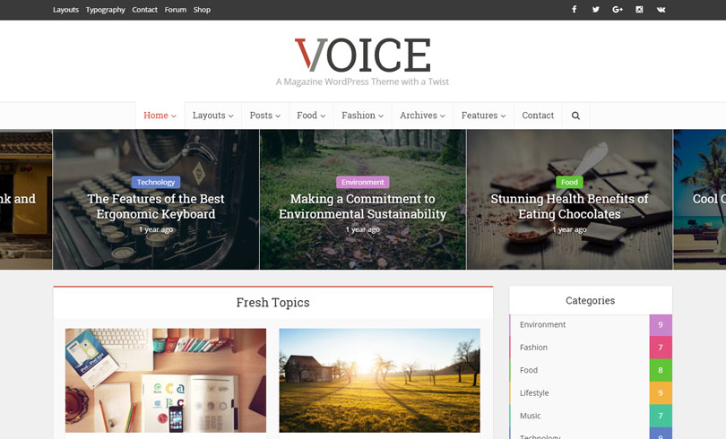 Theme tin tức Voice - Clean News/Magazine WordPress Theme [Event 9]