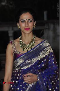 Model Shilpa Reddy Stills in Purple Silk Saree at Gudi Sambaralu 2017 Sri Ramachandra Swami Temple  0050.JPG