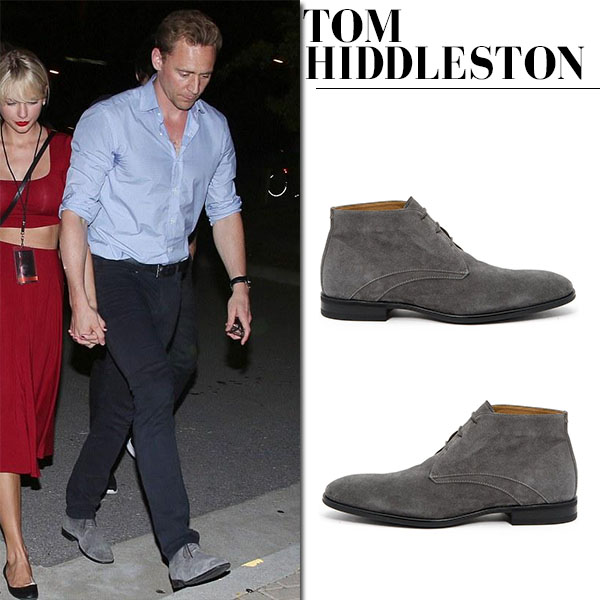 Tom Hiddleston in blue shirt, dark jeans and grey suede boots aquatalia ace chukka casual style