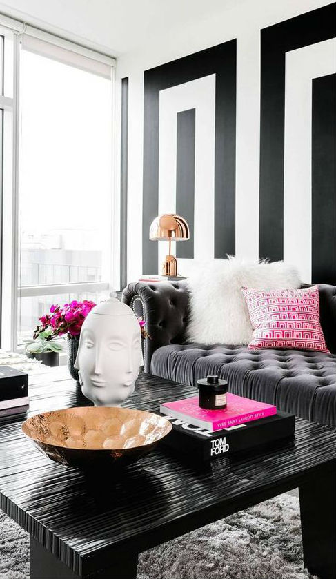 black and white modern home decor idea