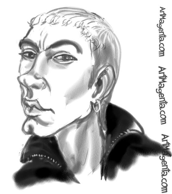 Eminem caricature cartoon. Portrait drawing by caricaturist Artmagenta