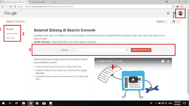 Kelas Informatika - Beranda Google Webmaster Tools