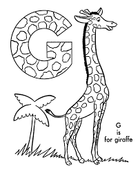 Gg For Giraffe Coloring Pages With Alphabets