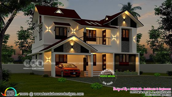 2224 square feet 4 BHK home plan design