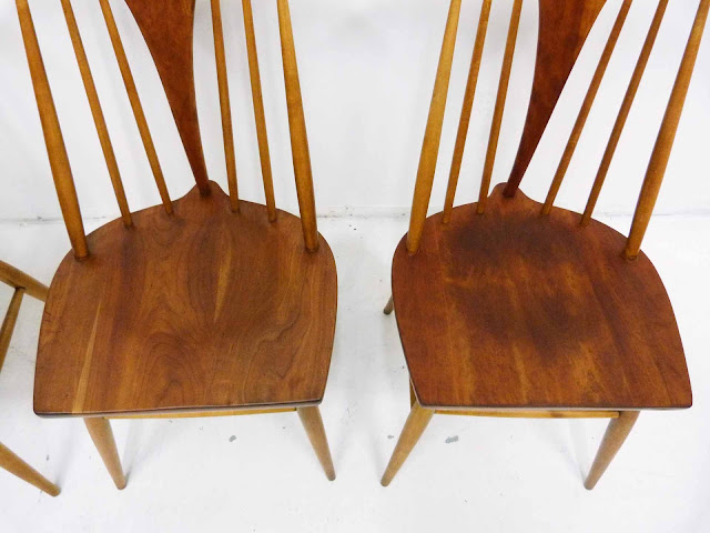 Heywood Wakefield Dowel High Back Mid-Century Doeskin Dining Chairs Blemish 1