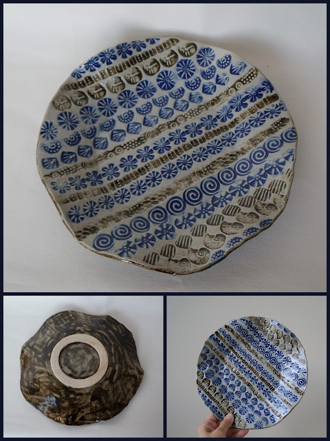 Beautiful stamped stoneware plate, pottery by Lily L.