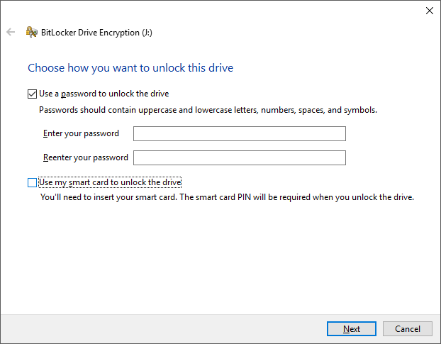 BitLocker Screen on Windows 10