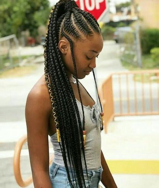 accessorizing box braids ponytails