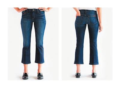Укороченные расклешенные джинсы на фигуре прямоугольник